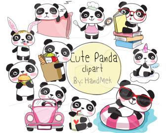 Panda clipart kawaii Kawaii instant panda file Cute