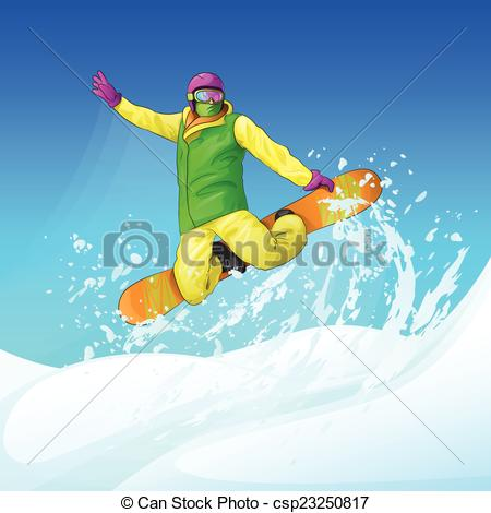 Snowboarding clipart man Snowboarder sliding snow the hill
