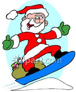 Santa clipart snowboarding #2