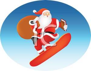 Santa clipart snowboarding #3