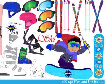 Skiing clipart ski snowboard Art Digital Graphics snowboards EPS