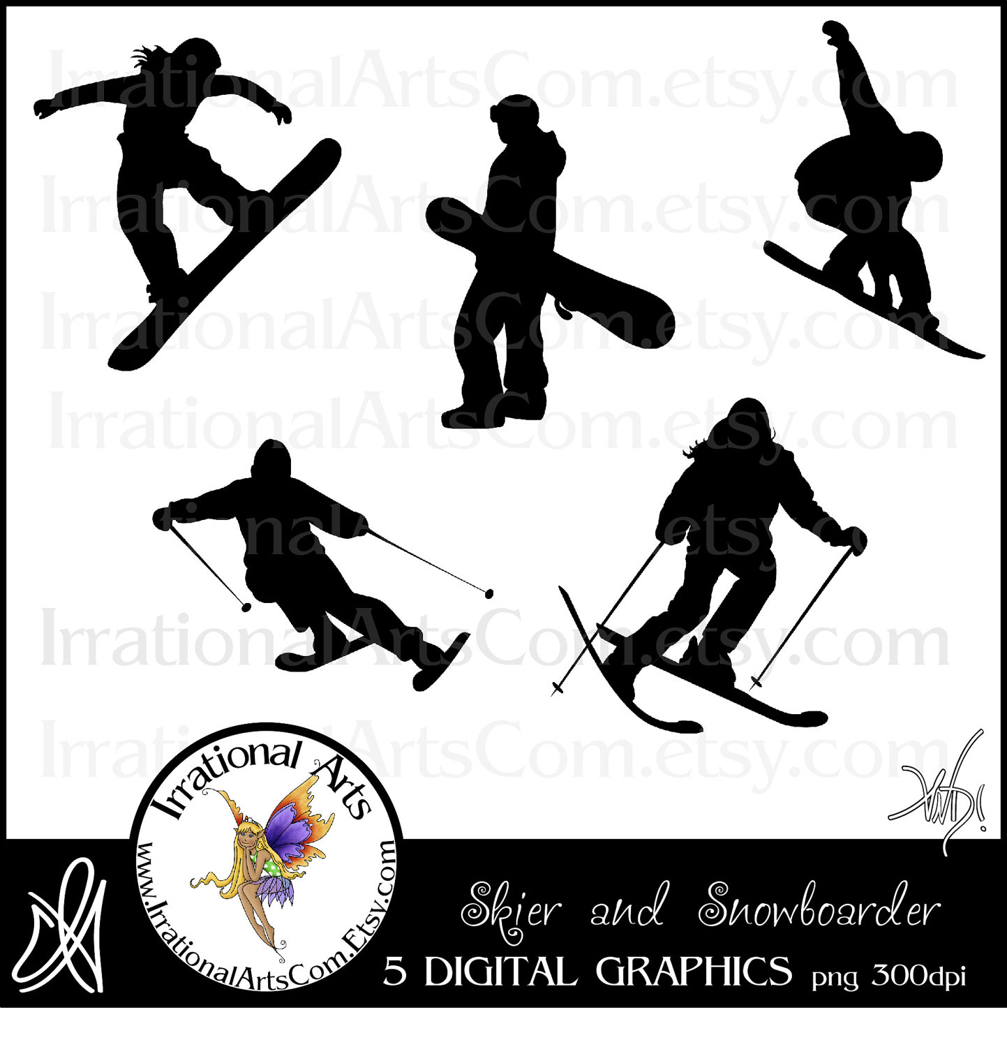 Snowboarding clipart skiing Files Snowboarding  [INSTANT graphics