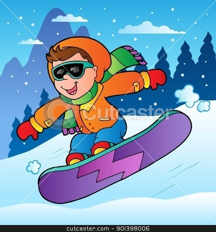 Snowboarding clipart winter boy Clipart scene snowboard on with