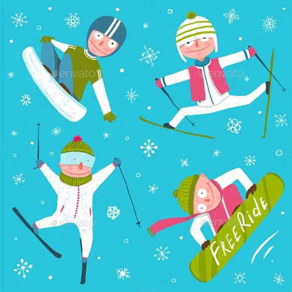 Skiing clipart winter sport Art Sport Snowflakes Winter Snowflakes