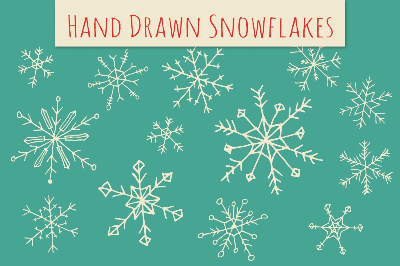 Drawn snowflake cute Pen com Brush Holiday