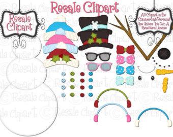 Snowman clipart accessory Clipart DIGITAL CLIPART Snowman Etsy