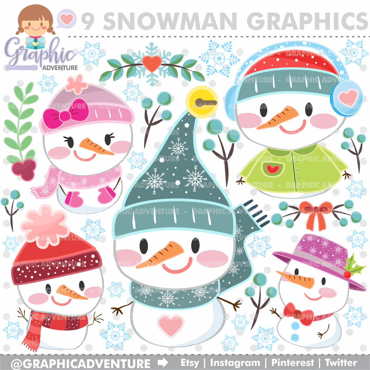 Snowman clipart accessory Clipart  USE COMMERCIAL Christmas