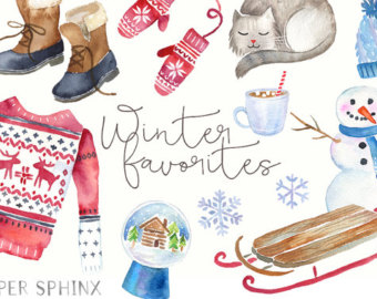 Snowman clipart accessory Mittens clipart Watercolor Clipart Sweater