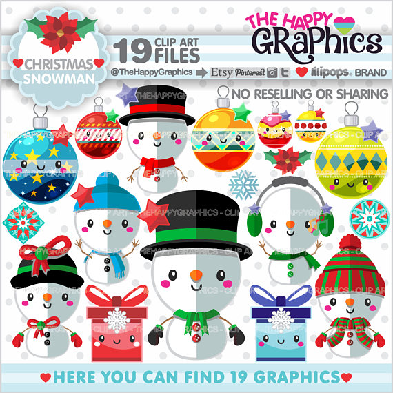 Snowman clipart accessory Graphics Christmas Christmas TheHappyGraphics