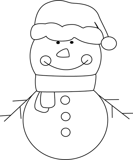 Snowman clipart black and white Black Snowman and Christmas