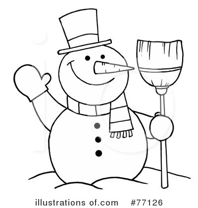 Black & White clipart snowman #77126 by Royalty Hit Illustration