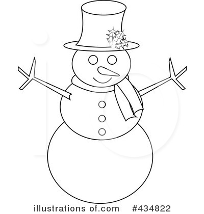 Black & White clipart snowman #434822 by Royalty Pams Illustration