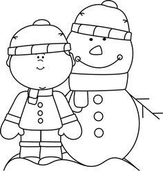 Snowman clipart black and white Black Black with Clip Black