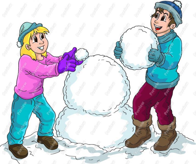 Snowman clipart building a And snow Boy Art girl