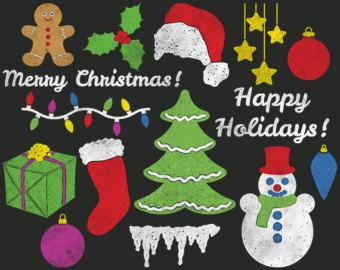 Christmas Tree clipart chalkboard Mistletoe Stocking Santa Chalk Tree
