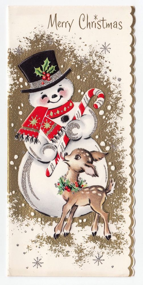 Snowman clipart cute vintage Card Clip about Greeting Christmas