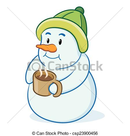 Snowman clipart drinking coffee Clipart of illustration csp23900456 Snowman