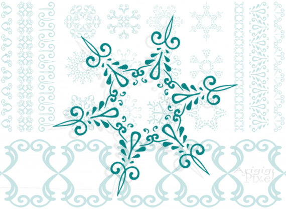 Snowman clipart elegant Collection Christmas Snowflakes clipart matching