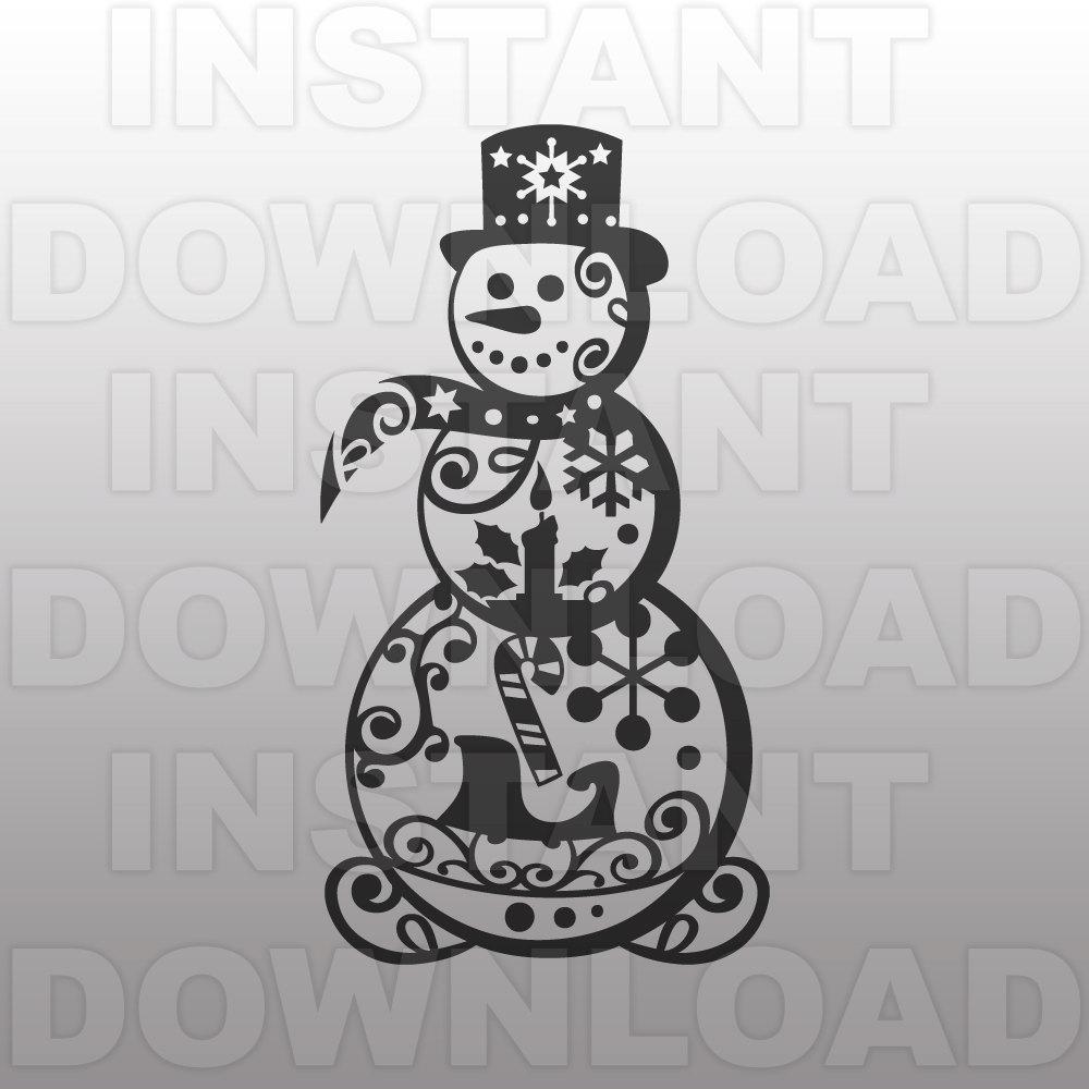 Snowman clipart filigree Snowman digital Filigree SVG SVG