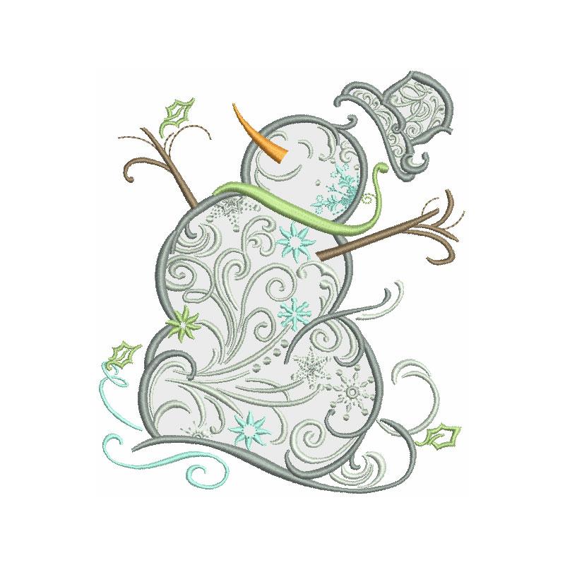 Snowman clipart filigree Applique  Snowman Filigree