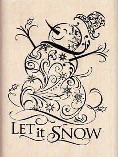 Snowman clipart filigree Snowman Wood Stamp DD svg