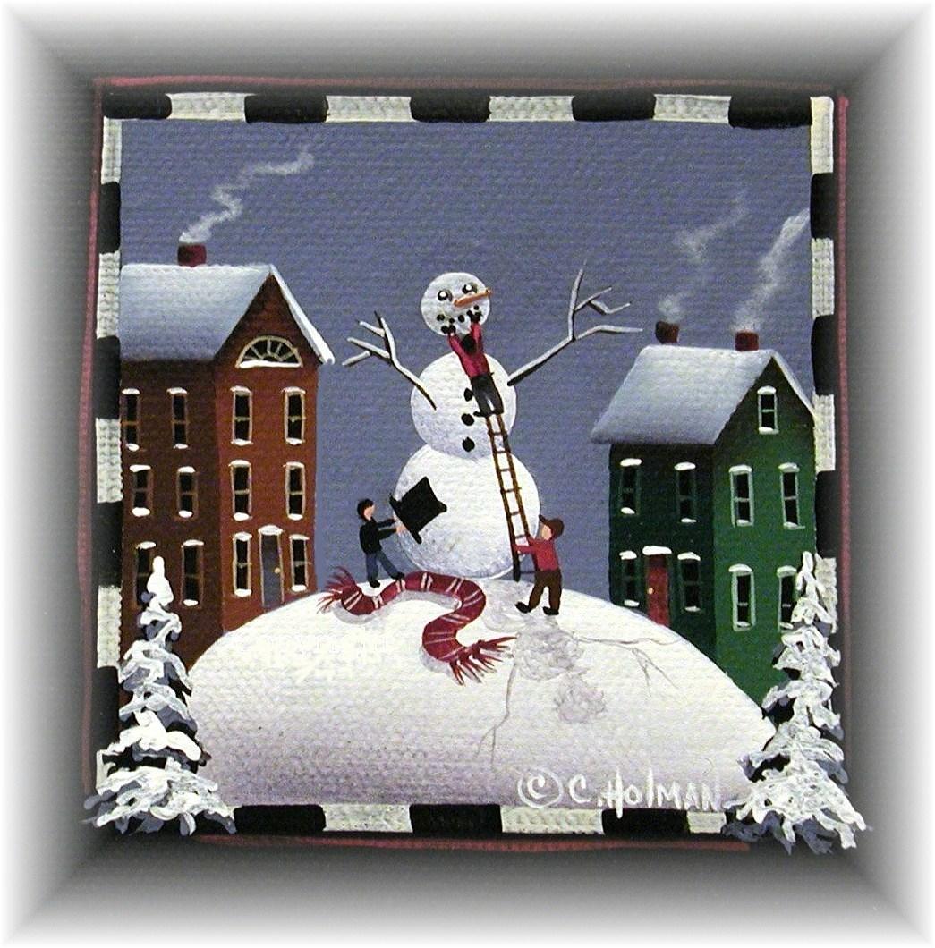 Snowman clipart folk art Monday Art Holman Folk Monday