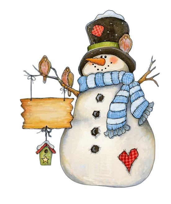 Snowman clipart folk art Little snowman clip winter this