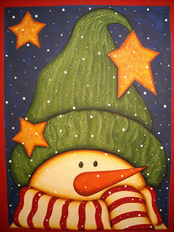 Snowman clipart folk art Art Click to paintings folk