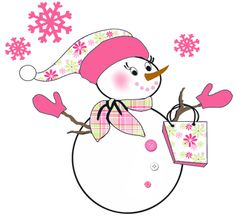 Woman clipart snowman Background and and on pink