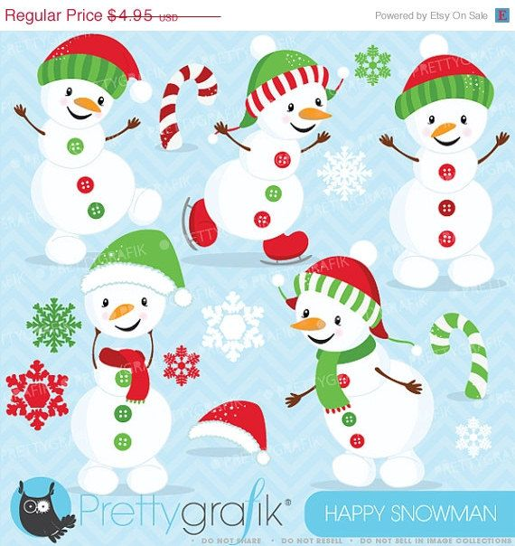 Snowman clipart happy CL619 Happy only clipart commercial