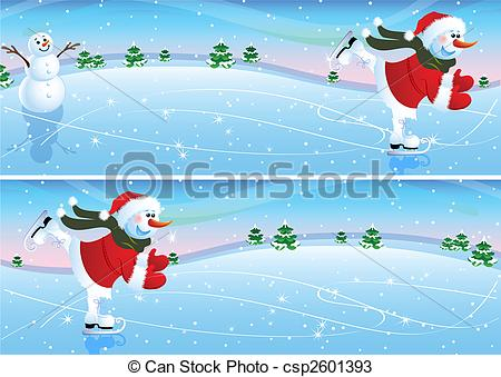 Snowman clipart ice skating Skating  on Vector Christmas