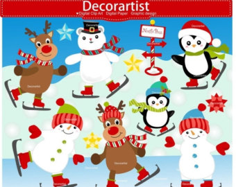 Snowman clipart ice skating Art art Ice Christmas Etsy