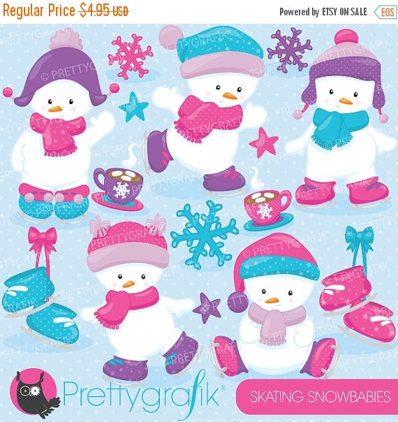 Snowman clipart ice skating Commercial use commercial clip