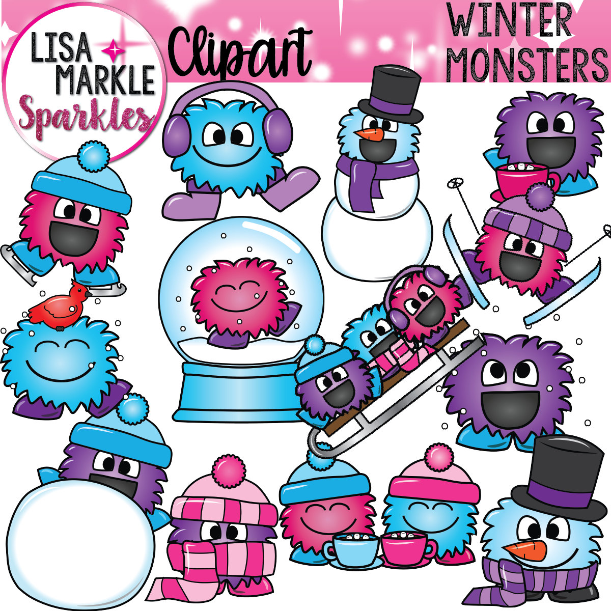 Snowman clipart monster Scarves Monsters Snowglobes Hats Winter