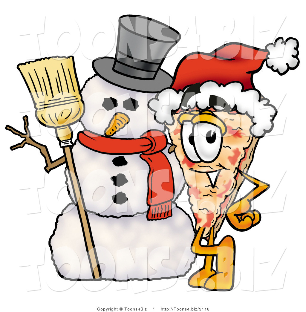 Snowman clipart pizza Cartoon a Mascot with Pizza