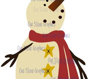 Irish clipart snowman Primitive Etsy svg primitive Snowman