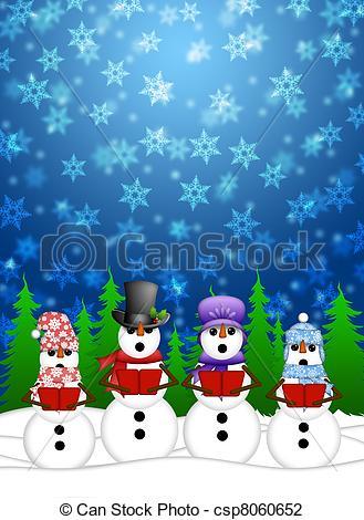 Snowman clipart scene Snowing Scene Winter Carolers Winter