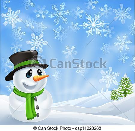 Snowman clipart scene Of Christmas Vector  Christmas