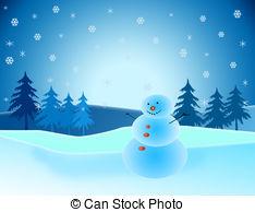 Snowman clipart scene With trees scene Stock 228