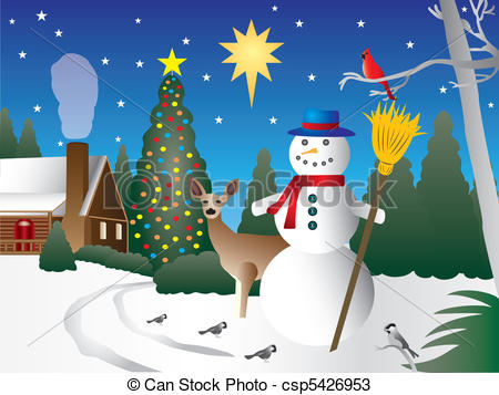 Snowman clipart scene In Christmas Snowman Cabin Cartoon