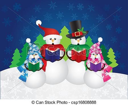 Snowman clipart scene Illustration csp16808888 Scene Scene