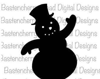 Snowman clipart shadow Instant Christmas Snowman Silhouette Etsy