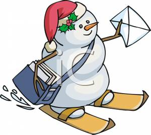 Snowman clipart skiing Delivering and Skiing Letters Clipart