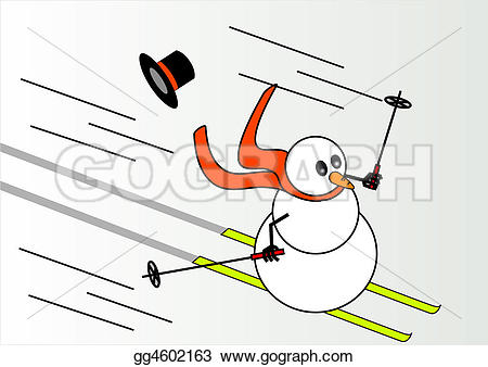 Snowman clipart skiing Drawing Illustration Stock who