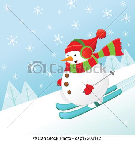 Snowman clipart skiing  joy Clip Skiing Skiing
