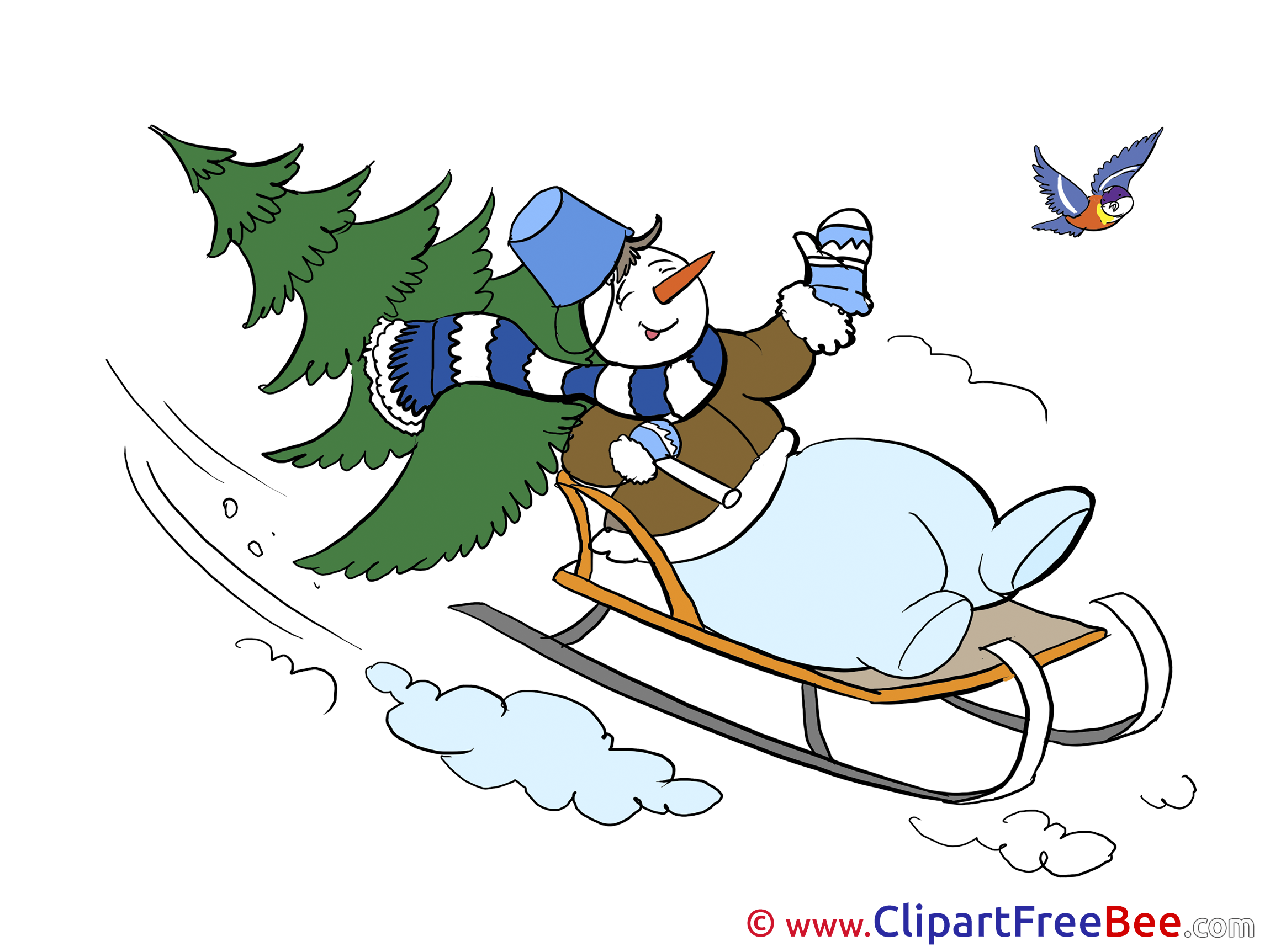 Snowman clipart sledge Cliparts Sledge free Snowman Winter