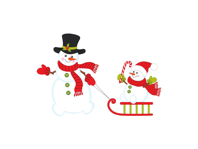 Snowman clipart sledge Clipart file is Digital Xmas