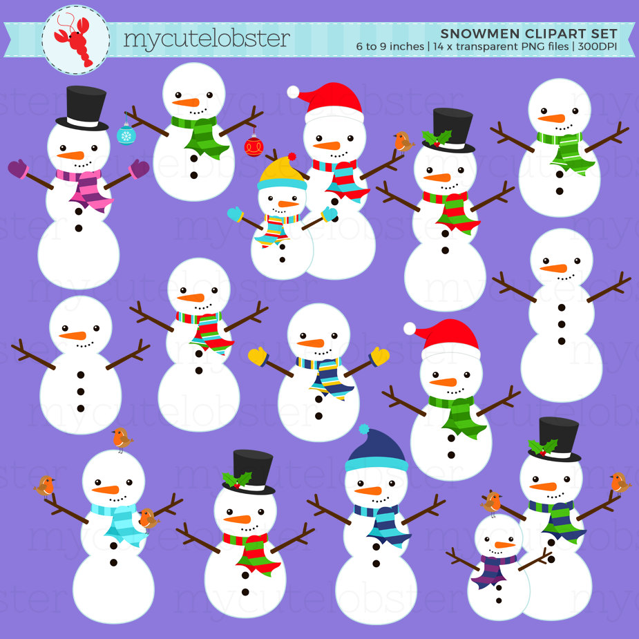 Snowman clipart small Clip set Set This of