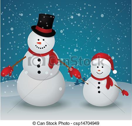 Snowman clipart snowman family Of  Christmas Vector Vector