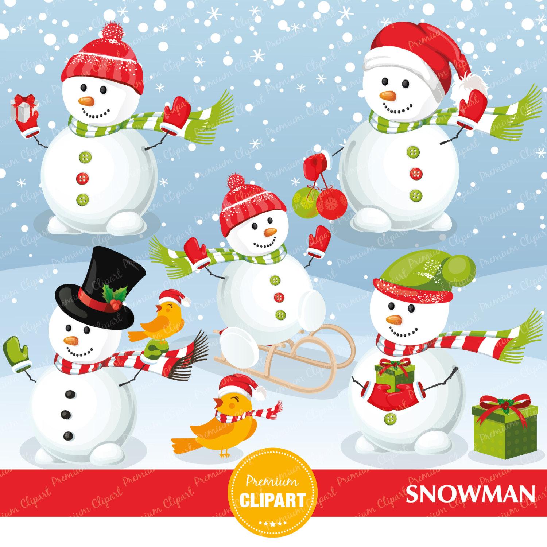 Snowman clipart xmas Etsy bird Snowman clipart Christmas